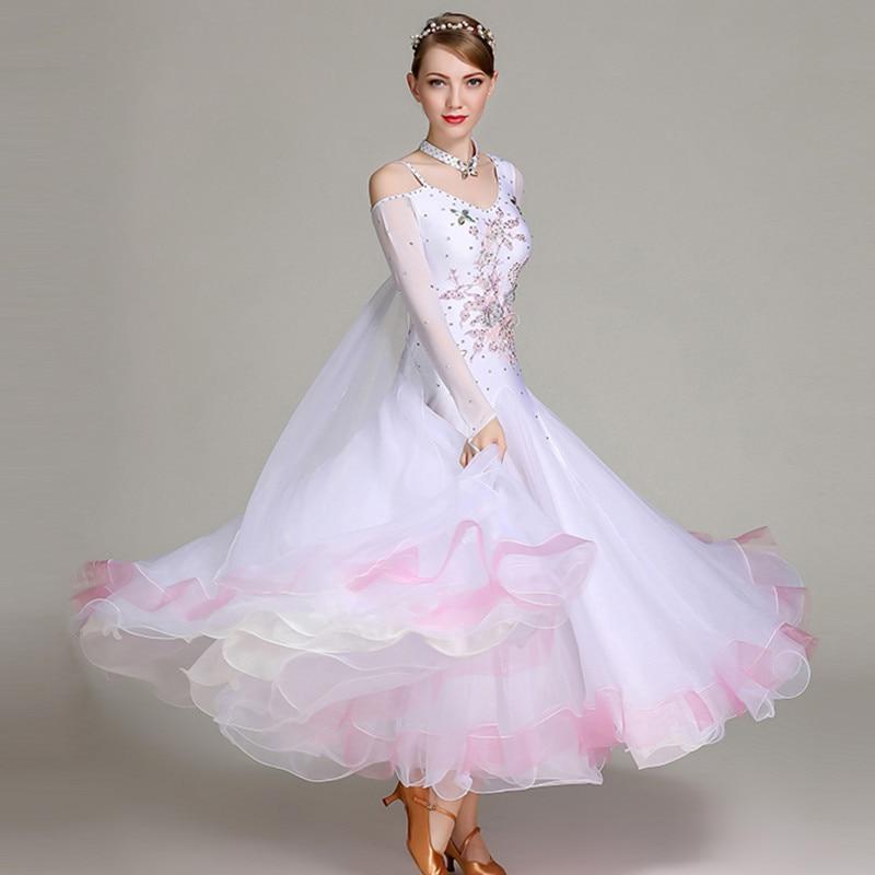 White Ballroom Dance Competition Dress Fringe Dance Wear Ballroom Waltz Dress Rumba Costumes Ballroom Dancing Dress Foxtrot