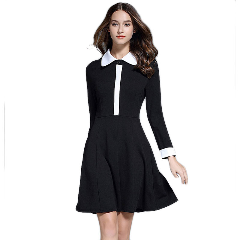 2017 Spring New Women Peter Pan White Collar Long Sleeve Knee Length Black Dress Ladies  ...