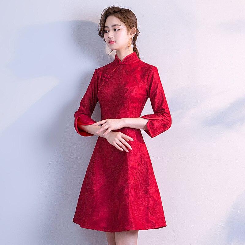 730ee522d86 Красный Винтаж китайский Стиль платье ретро Костюмы мини-платье свадебное  Ципао Qipao Платье для вечеринки