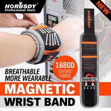 HORUSDY Magnetic Wristband Portable Tool Bag Polyester Pocket Wrist Support Belt Screws Nails Drill Bits Holder Repair