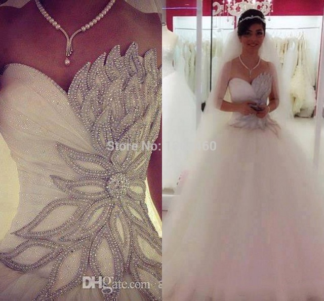 Wedding Dress 2014 Real Image Bling Vestido Novia Custom Made Bridal ...