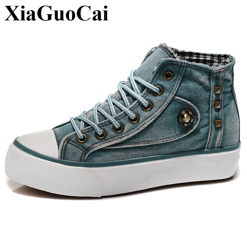 Platform Flat Canvas Shoes Women Casual Shoes Classic Retro Denim Lace-up High-top Shoes Autumn Women Leisure Shoes H528 35 цены онлайн