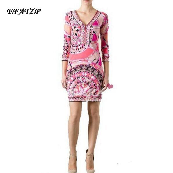 2016 Autumn Dress Ladies Geometric Print 3 4 Sleeve Knee Length Casual Stretch Day Dress Jersey