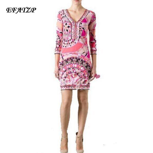 2016 Autumn Dress Ladies Geometric Print 3 4 Sleeve Knee Length Casual Stretch Day Dress Jersey