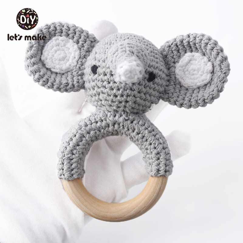 Детская погремушка крючком рисунок слон 1 шт. с колокольчиком Детские игрушки Монтессори прорезыватель погремушка амигуруми детские игрушки Давайте сделать