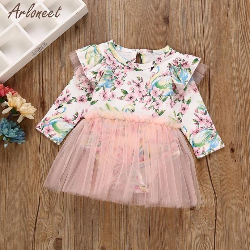 2018 baby dress long sleeve knee-length infant dress print O-Neck baby girl birthday party dress dec27