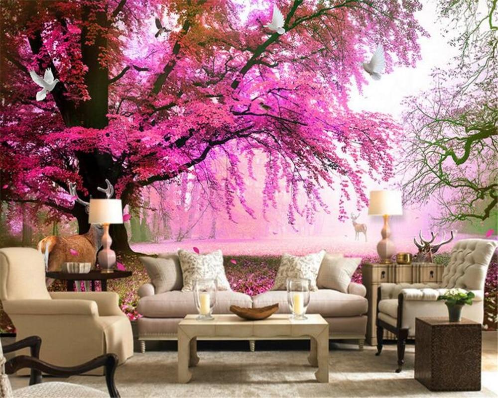 Beibehang fantasy sakura tree sika deer deer 3d for Tree wallpaper living room