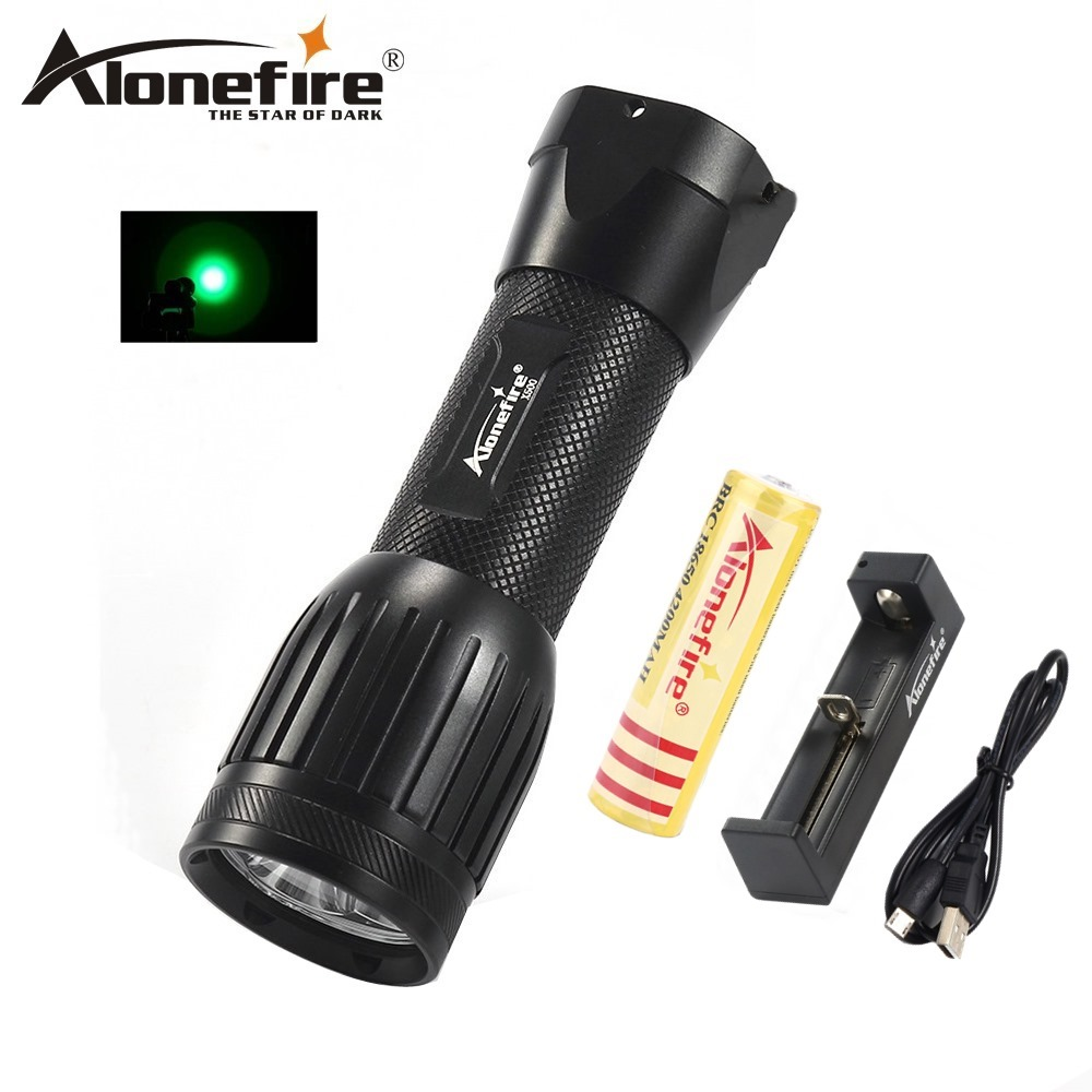 AloneFire X500 LED Green Flashlight Light torch Lamp 3 Modes Tactical hunting camping Linternas pvc camping flashlight torch linternas 2 modes led flashlight with bottom magnet and hook use 4 aaa batteries