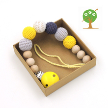 Yellow grey 20mm crochet beads  Baby Pacifier Clip Dummy Holder cotton Natural wooden  BEECH beads baby accessory  NT152