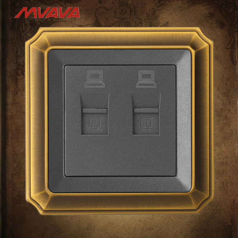 MVAVA Double PC Data Wall Socket Dual RJ45 Data Outlet Internet Computer Jack Plug Luxury Bronzed Panel Free Shipping mvava insert hotel card electrical supply wall decorative socket card power receptacle luxury mirror black panel free shipping
