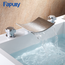 202-44C 3 Pcs Tap Waterfall Bathroom Basin Sink Bathtub Mixer Faucet Chrome Finish With Strainer Deck Mounted Taps 303 стоимость