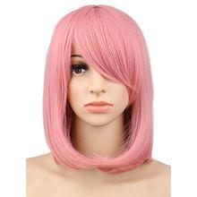 QQXCAIW для женщин и девочек короткий боб прямой косплей парик костюм Вечерние Розовые 40 см синтетические волосы парики