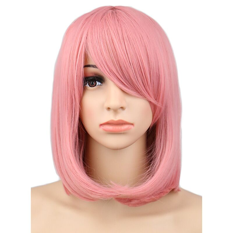 QQXCAIW Women Girls Short Bob Straight Cosplay Wig Costume Party Pink 40 Cm Synthetic Hair Wigs