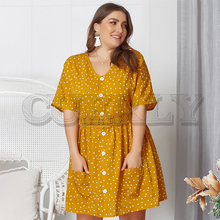 CUERLY Plus size polka dot print women short dress Elegant v-neck female summer dress Lace hem casual pockets ladies dress 2019 все цены