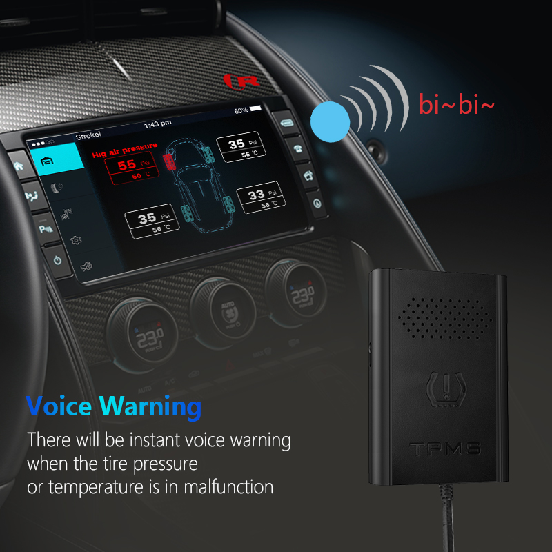 US $48 9 15% OFF|TPMS Car Tire Scan Tool Pressure Monitoring for Android  DVD Player with 4 Sensors Tyre pressure Alarm Temperature Monitor Gauge-in