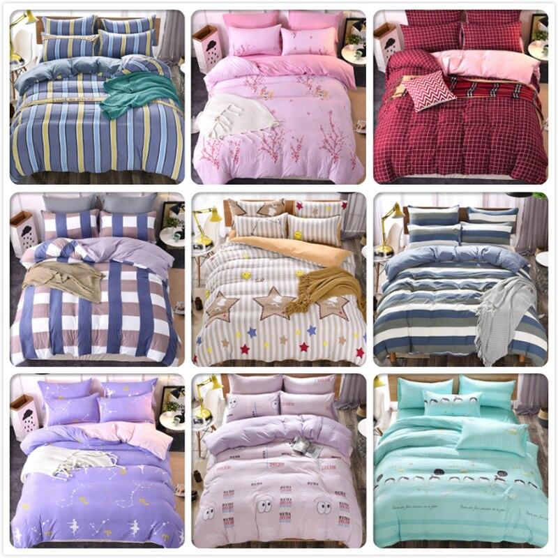 Solid Pure Color Bed Linens 6 feet 1.5m 1.8m 2m Bedsheet 3/4 pcs Bedding Sets King Queen Double Size Duvet Cover Kids Bedclothes