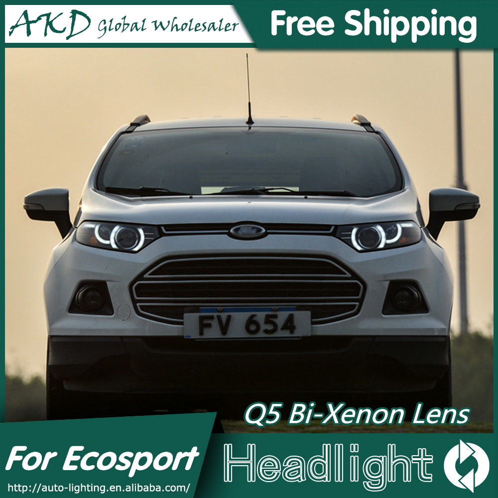 AKD Car Styling for Ford Ecosport Headlights New Evoque Desgin LED Headlight DRL Bi Xenon Lens High Low Beam Parking Fog Lamp union car styling for ford fusion headlights 2013 2015 new fusion led headlight original drl bi xenon lens high low beam parking