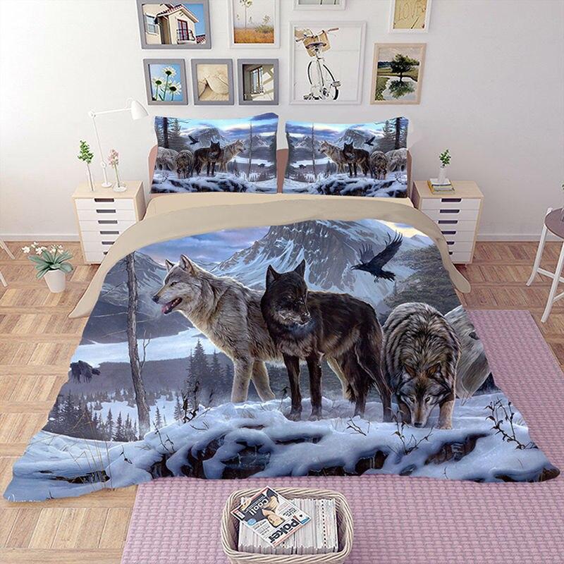HD Wolf Bedding Set 3D Animal Beddings Duvet Cover Set Bedlinen Twin Full Queen King Size