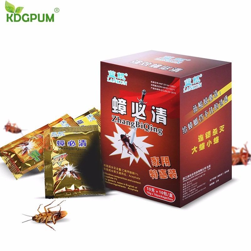 10PCS/Box Powder Cockroach Killing Bait Effective Insecticide Repellent Russian Cockroaches Killer Repeller Trap Pest Control gis chino para chinches