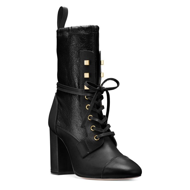 Rond Show Femmes Lacets Chaussures Taille Personnaliser Bout Talons Plat Femme Bottes As Hauts Botas Plate Dames Grande Usine Épais Noir forme Classique À aB4qwAxc