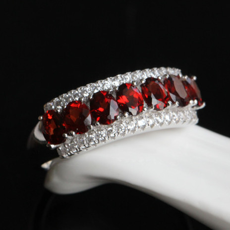 Anneau de grenat rouge naturel en 925 bijoux en argent Sterling mode élégant janvier cadeau de pierre de naissance à la main mise à niveau SR0154 nouveau