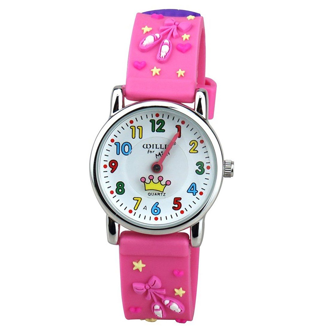 WILLIS Kids Time Teacher Watch Easy Read Quartz Watch With 3D Cartoon Soft Silicone Watch Band Comfortable For Children Cute S