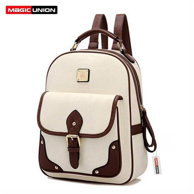 Magic union mulheres mochila mochila moda mochilas de couro das mulheres pu saco de escola sacos de alta qualidade designer de patchwork