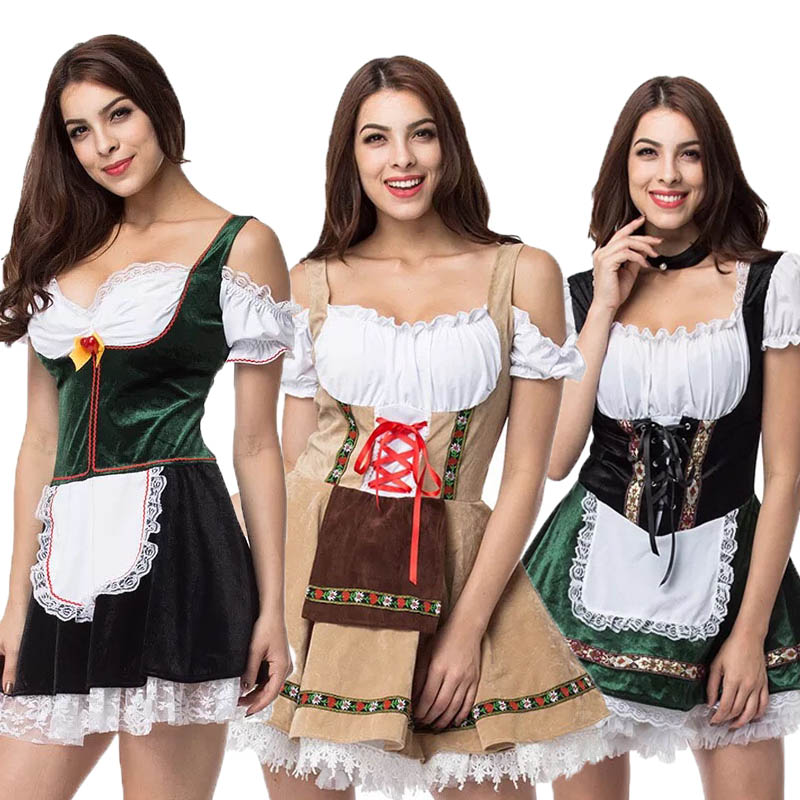 Adult Women Oktoberfest Sweet Dirndl Costume Bavaria Lace-Up Overbust Strap Dress Fancy Traditional Outfit For Ladies