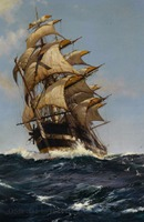 Handmade Wall Artwork Crest of a Wave Sailing Ships Counted Cross Stitch Pattern Seascape Oil Painting on Canvas for Living Room