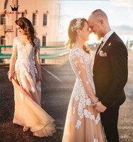 אונליין גודל מותאם אישית שרוול ארוך תחרת טול כלה פורמליות אלגנטית שמלת כלה שמלות כלה 2018 החדש Robe דה Mariee אופנה LR51
