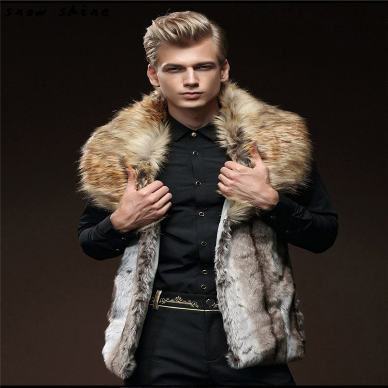 snowshine #3001 Men Faux Fur Vest Jacket Sleeveless Winter Body Warm Coat Long Waistcoat Gilet free shipping