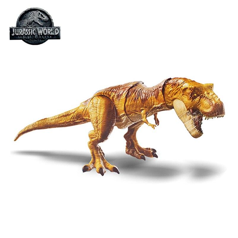 Original Mattel Jurassic World 2 Attack Tyrannosaurus Rex Simulation Sound Action Figure Hot Sale Model Dolls Toys For Children