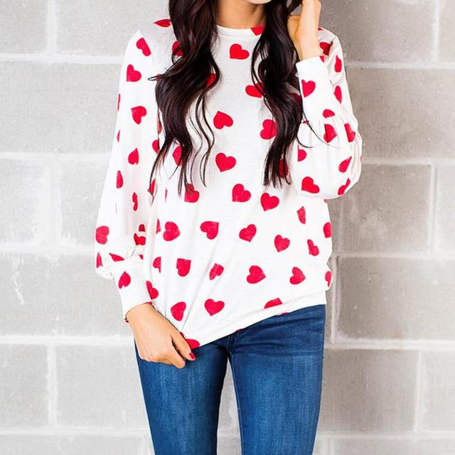 New Valentine Day Lips Printed Women T Shirt Loose Female Spring Tee Tops Long Sleeve Women Tshirts WS5949V