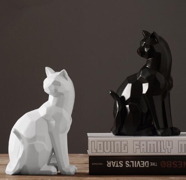 Origami style blanc et noir géométrique chat sculpture ornements abstrait animal figurine ornements moderne décorations pour la maison