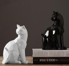 Origami style white and black geometric cat sculpture ornaments abstract animal figurine modern home decorations