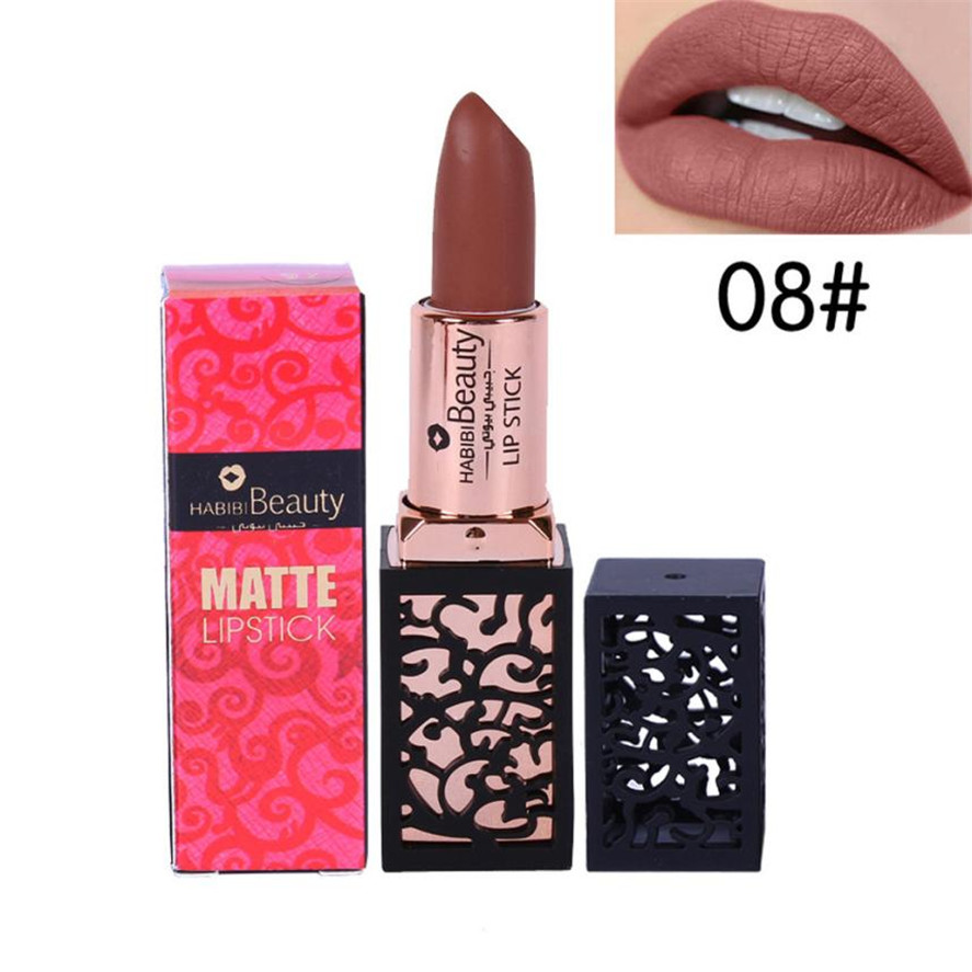 New long lasting matte lipstick HABIBI BEAUTY 1PC Lipstick Cosmetics Women Sexy Lips Matte Lasting Lip Gloss Party Makeup Pretty 7
