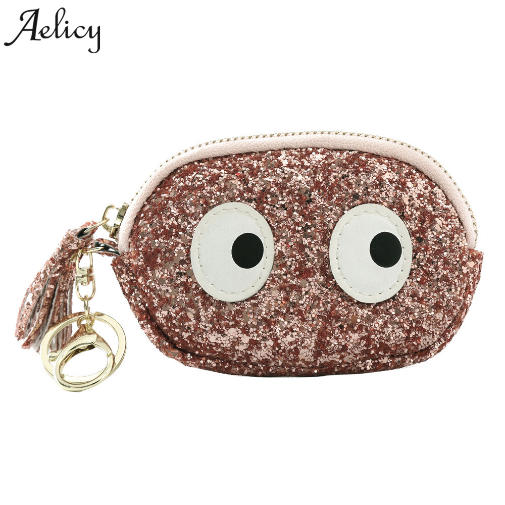 Aelicy New Women Mini Grind Leather Sequins Coin Purse Wallet Kids Girl Glittering Purse Handbag Party Zipper Clutch Bag