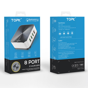 Image 5 - Topk 8 Poort Quick Charge 3.0 Usb Charger Eu Ons Uk Au Plug Desktop Snelle Telefoon Oplader Adapter Voor iphone Samsung Xiaomi Huawe