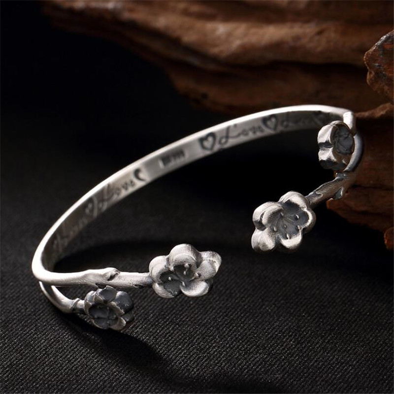 2018 Limited Classic Elegant S925 Silver Pure Thai Silver Plum Flower Bracelet Thailand Process Bangle 4-6.50MM 17.50G new limited edition classic elegant s925 silver pure thai silver bracelet watches thailand process rhinestone bangle dresswatch