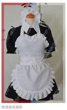 Virgo del anime Fairy Tail Cosplay Cos de Halloween conjunto Completo 6 en 1 (Vestidos + Headwear + Delantal + muñequera + calcetines + la cadena)