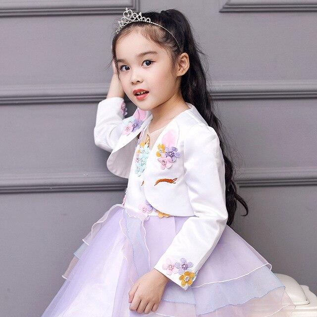 6fbc250b1 Fashion Girls Bolero Kids Ivory Unicorn Pattern Short Jacket ...