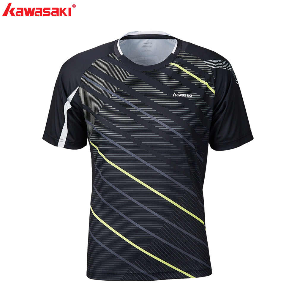 KAWASAKI Quick Dry Men's Fitness T-Shirt Short Sleeve 100% Polyester Breathable Running Badminton Sports T Shirts ST-S1122