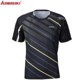 KAWASAKI szybkie suche męskie Fitness t-shirt 100 poliester oddychające do biegania Badminton sport koszulki z krótkim rękawem ST-S1122 tanie i dobre opinie V-neck Pasuje prawda na wymiar weź swój normalny rozmiar Black White 100 Polyester M~4XL Sportswear Short-sleeved Shirt