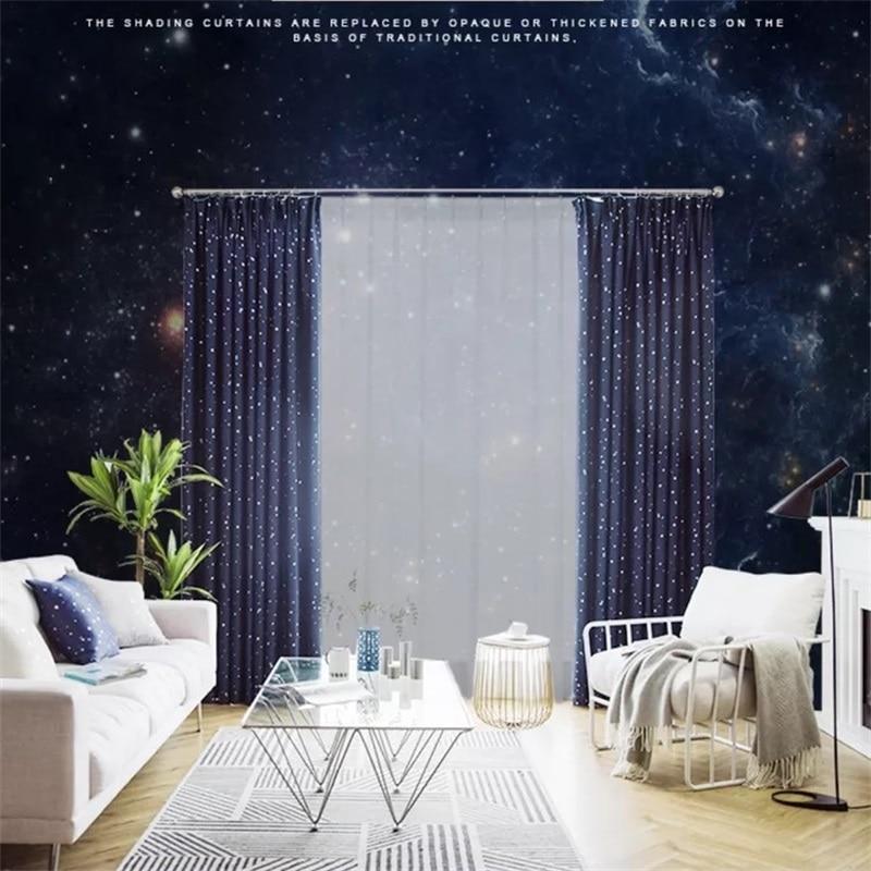 Shiny Stars Kinder Tuch Vorhänge Für Kinder Junge Mädchen Schlafzimmer Wohnzimmer Blau / Rosa Blackout Cortinas Nach Maß Vorhänge wp123 & 2