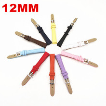 Groothandel 50 Stks/partij 12 MM PU met echt lederen horloge band 10 kleuren 121701