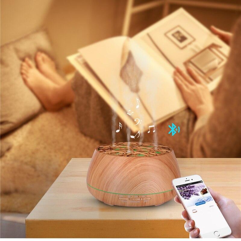 Diffuseur d'huile essentielle d'arome de haut-parleur de Bluetooth arrêt automatique sans eau humidificateur ultrasonique de lumières de 7 LED à couleur changeante - 2