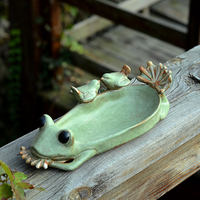 Creative Ceramic Frog Dried Fruit Candy Dessert Plate Soap Dish Crafts Home Decor Wedding Decoration Animal