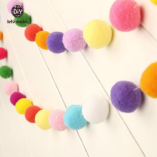 Let's Make 100pc 2cm Pom Garland  Wedding DIY Birthday Party Garlands Rainbow Pom Pom Beads Handmade Pompoms 7 Foot
