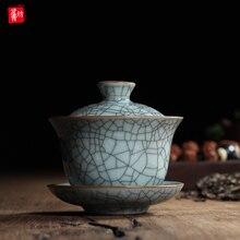 Chinesische Ge Ofen Longquan Celadon Porzellan Gaiwan China Teetassen und Tee Schüssel Keramik 155 ml Knistern Glasur Tee Topf Porzellan schüssel