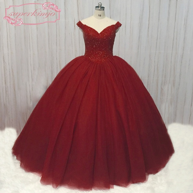 SuperKimJo Wedding Ball Gown 2018 Luxury Cap Sleeve Crystal Princess  Burgundy Wedding Dress Plus Size Vestido De Novia ac2d5035a87e